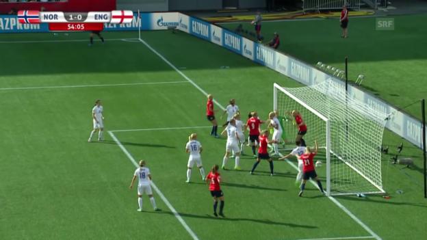 Video «Fussball: Frauen-WM, Achtelfinal, Norwegen-England, 1:0 Gulbrandsen» abspielen