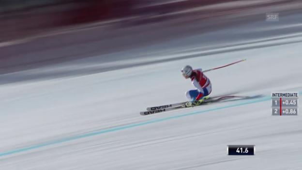Video «Ski Alpin: Abfahrt Lake Louise, Fahrt Corinne Suter» abspielen