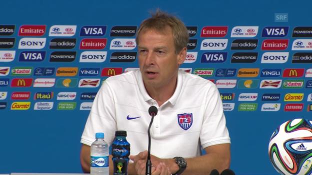 Video «Fussball: WM in Brasilien, Klinsmann über die deutsche Fraktion bei den USA» abspielen