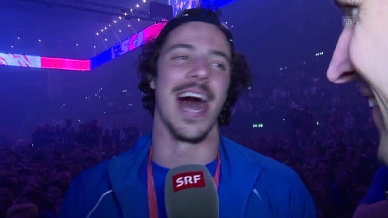 Eishockey: Playoff-Final, Spiel 4, Meisterfeier, Interview Roman Wick (19.04.2014)