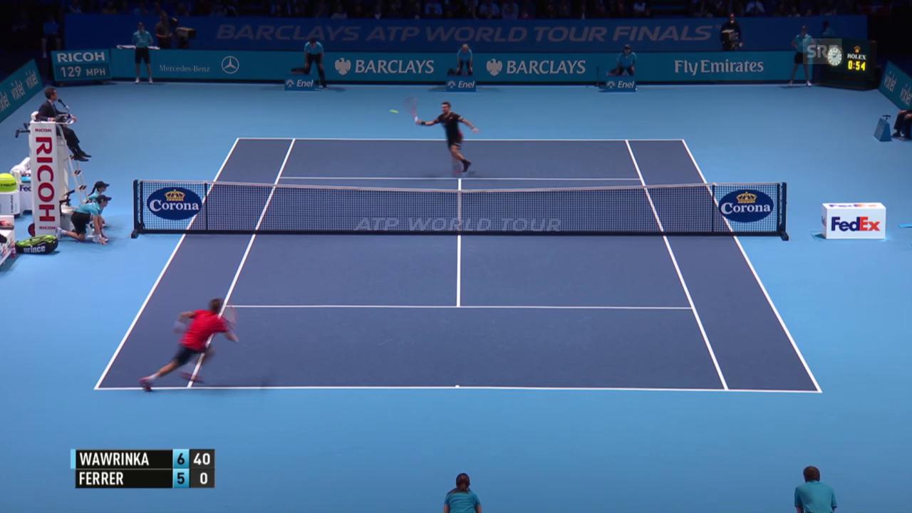 Tennis: ATP Finals, Round Robin, Wawrinka – Ferrer, Satzball Wawrinka