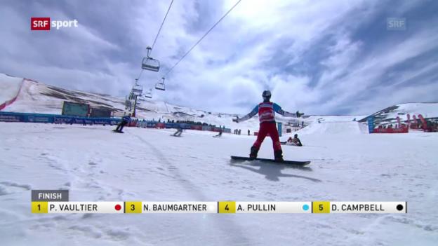 Video «Snowboard-WM: Favorit siegt, Schweizer stürzen» abspielen