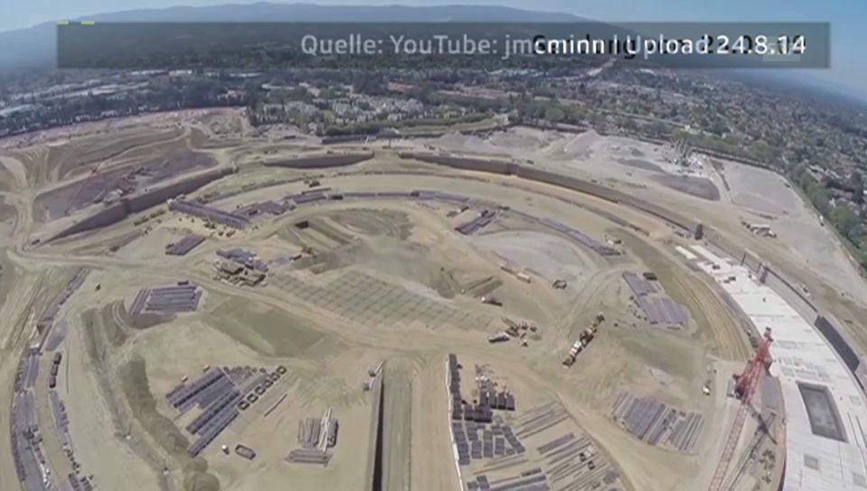 YouTube: Drohnenflug über Apple-Grossbaustelle v. 24.8.14