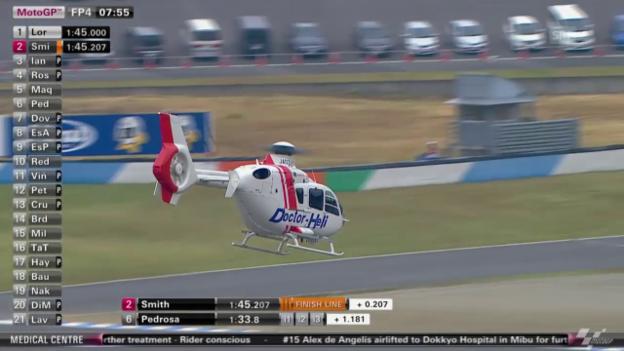 Video «Motorrad: MotoGP, De Angelis wird nach Sturz abtransportiert» abspielen