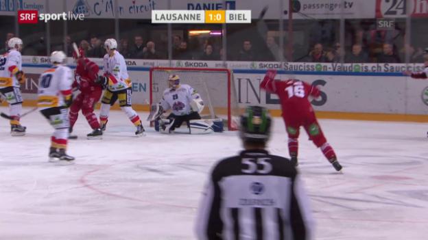 Video «Lausanne mit spätem Sieg gegen Biel» abspielen