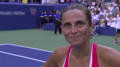 Video «Tennis: US Open, Frauen-Halbfinal, Interview Vinci» abspielen
