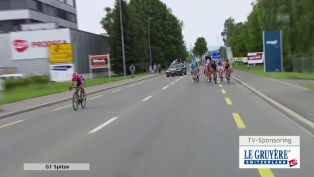 Video «Rad: Tour de Suisse 2015, 2. Etappe in Risch-Rotkreuz, Sieger Kristijan Durasek» abspielen