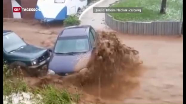 Video «Unwetter und Hochwasser in Baden-Württemberg» abspielen