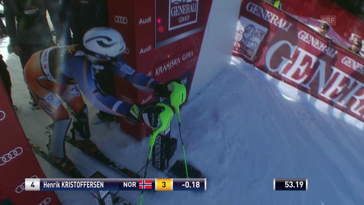 Ski Alpin: Slalom Kranjska Gora, 2. Lauf Henrik Kristoffersen («sportlive», 9.3.2014)