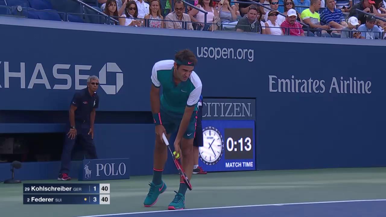 Tennis: US Open, Federer-Kohlschreiber, spektakulärer Punkt im ersten Satz