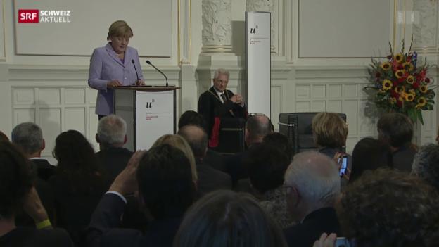 Video «Ehrendoktortitel für Angela Merkel» abspielen