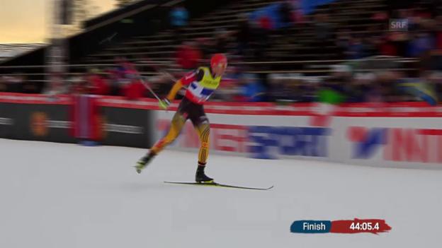 Video «Nordisch-WM in Falun: Zieleinlauf der Deutschen Kombinierer im Staffel-Wettkampf» abspielen
