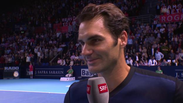 Video «Tennis: Swiss Indoors, Platzinterview mit Roger Federer» abspielen