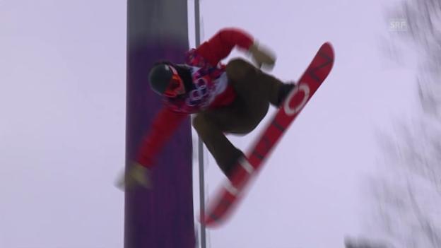 Video «Snowboard: Halfpipe Männer, Quali, 2. Run Christian Haller (sotschi direkt, 11.2.2014)» abspielen
