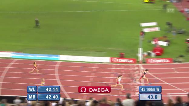 Video «Leichtathletik: Athletissima Lausanne, 4x100 m Staffel Frauen» abspielen
