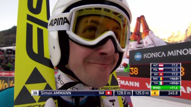 Video «Skispringen: Weltcup Engelberg, 2. Sprung Ammann» abspielen