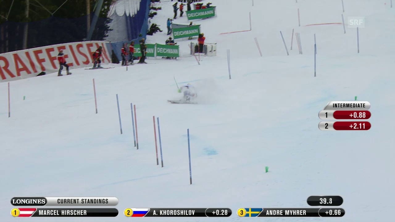 Ski-WM Vail/Beaver Creek, SL Männer, 1. Lauf Luca Aerni