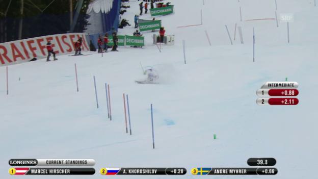 Video «Ski-WM Vail/Beaver Creek, SL Männer, 1. Lauf Luca Aerni» abspielen