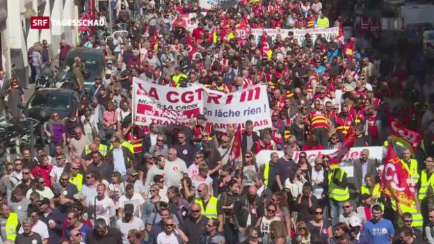 Video «Zehntausende protestieren in Frankreich» abspielen
