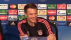 Video «Bayern-Torhüter Manuel Neuer vor dem CL-Viertelfinal-Hinspiel gegen Benfica Lissabon» abspielen