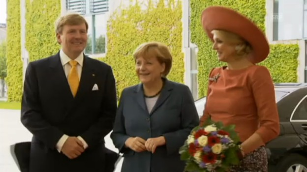 Video «Willem-Alexander und Máxima bei Angela Merkel» abspielen