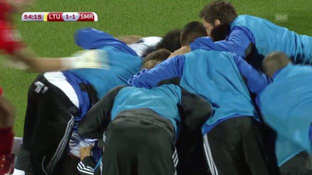 Video «Fussball: EURO-Qualifikation, Litauen - San Marino, Tor San Marino» abspielen