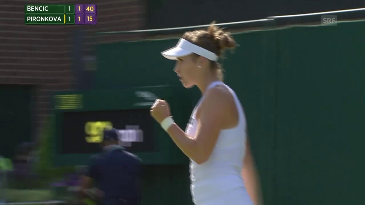 Tennis: Wimbledon, 1. Runde, Bencic - Pironkova
