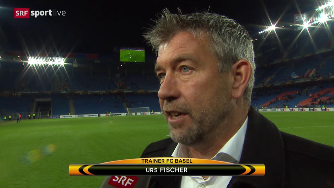 Fussball: Europa League 2015/16, 2. Gruppenspiel, Basel – Lech Posen, Platzinterview mit Urs Fischer