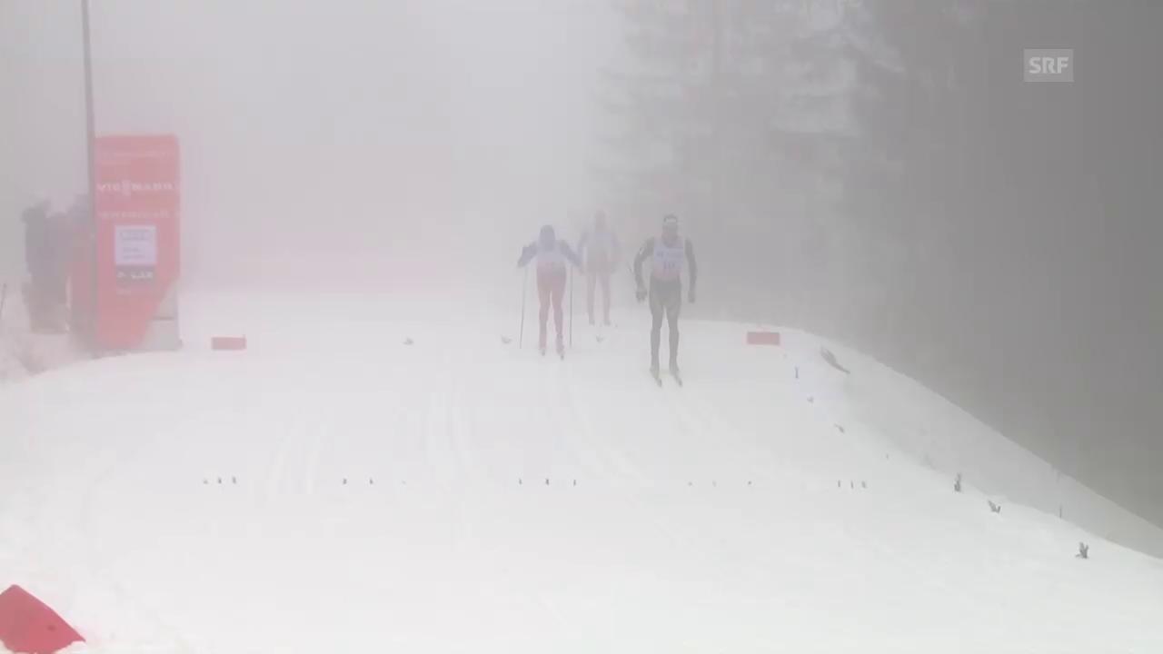 Der Moment der Aufgabe: Cologna beendet das Rennen frühzeitig