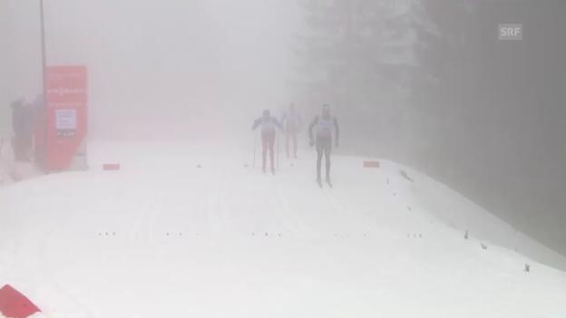 Video «Der Moment der Aufgabe: Cologna beendet das Rennen frühzeitig» abspielen