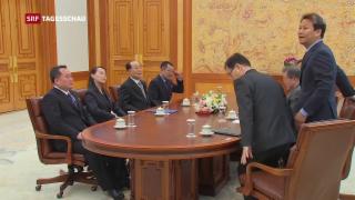 Video «Kim Jong Un lädt Südkoreas Präsident zu sich ein» abspielen