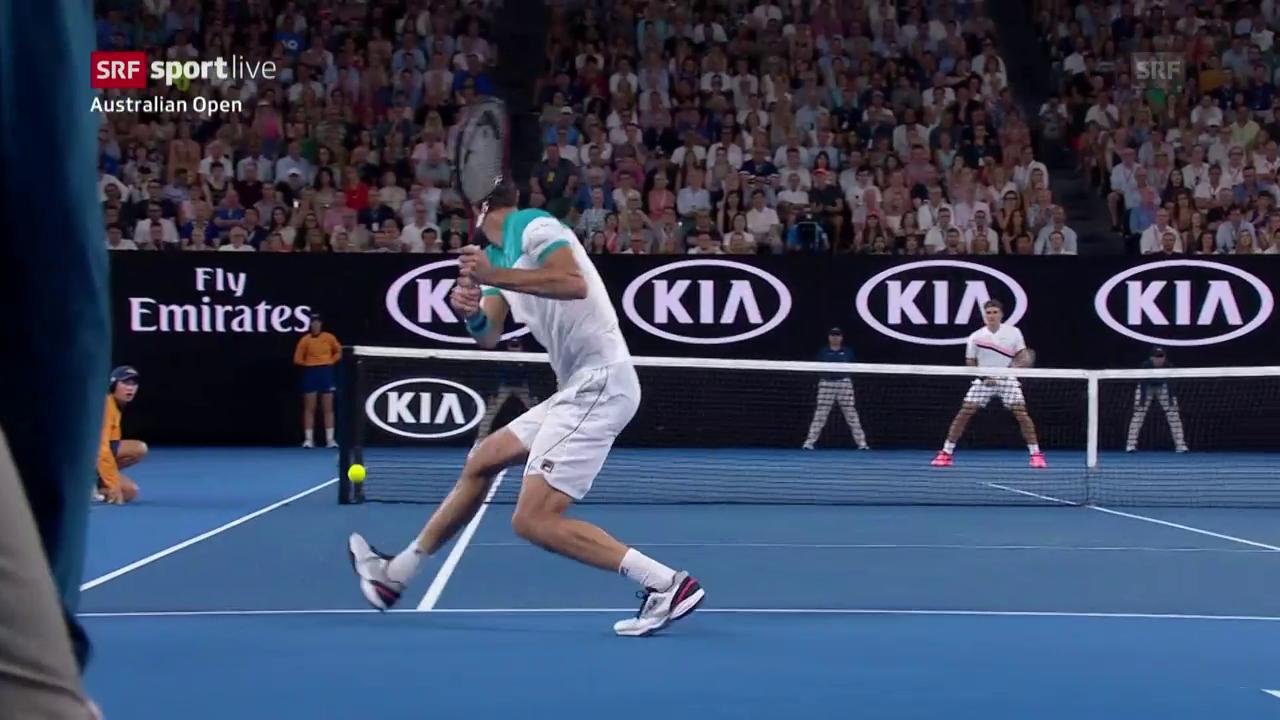 18-mal übers Netz: Cilic und Federer geben alles
