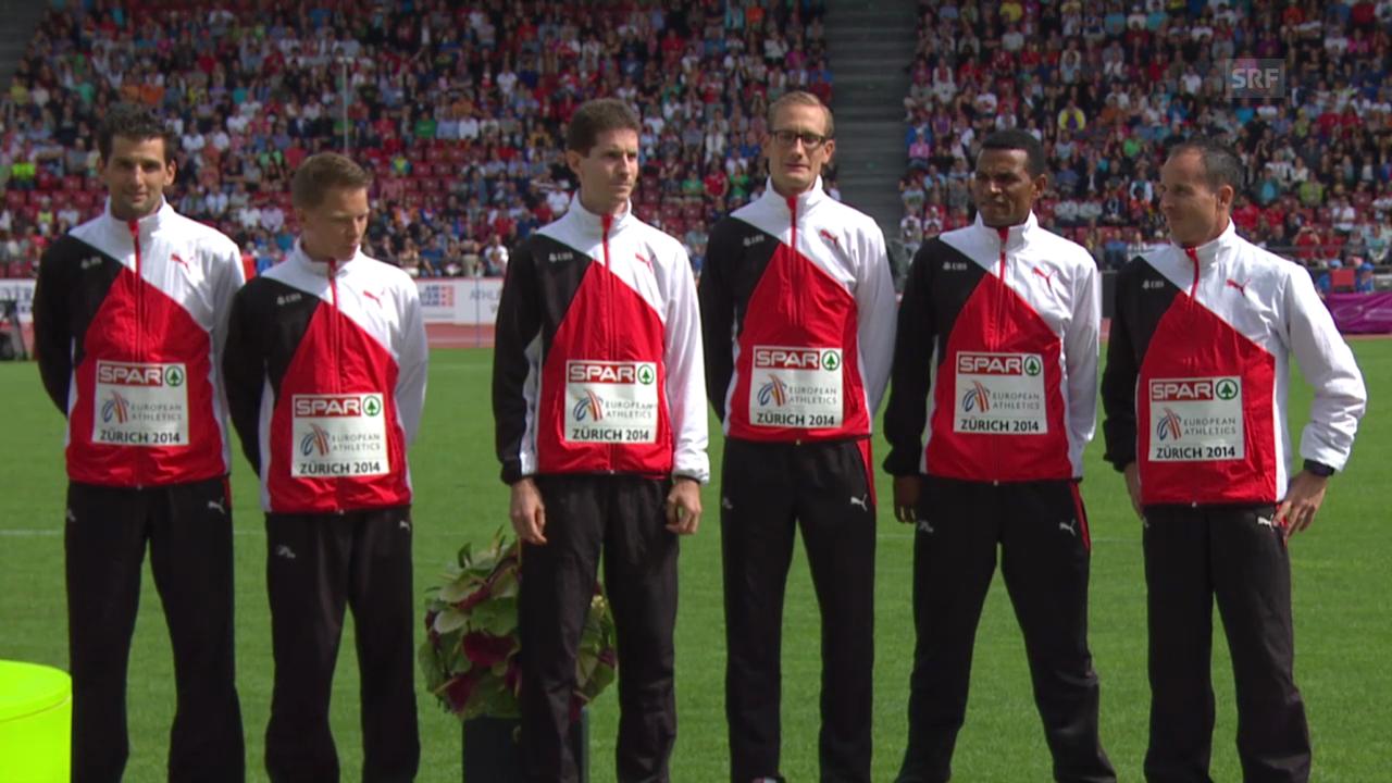 Leichtathletik-EM: Siegerehrung Marathon Team