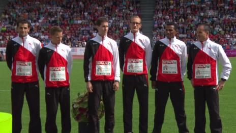 Video «Leichtathletik-EM: Siegerehrung Marathon Team» abspielen