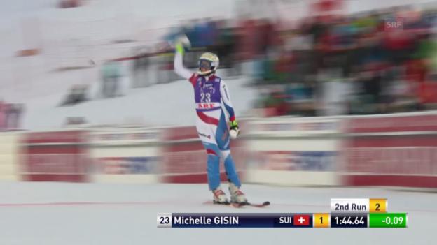 Video «Ski: Weltcup Frauen, Slalom Are, 2. Lauf Michelle Gisin» abspielen