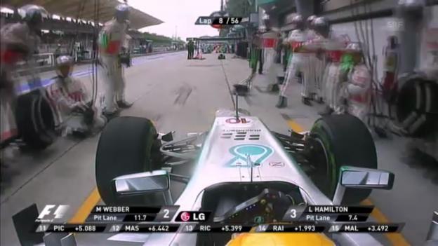 Video «F1: Hamilton fährt an die McLaren-Box» abspielen