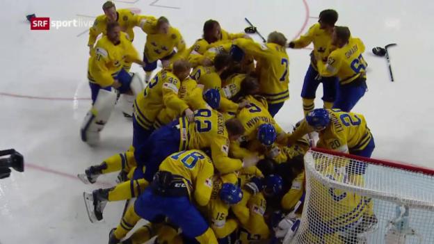 Video «Henrik Lundqvist pariert – und stürzt Schweden in einen Freudentaumel» abspielen