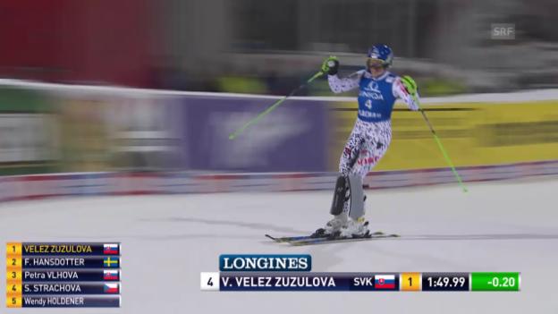 Video «Ski: Weltcup, Slalom Flachau, Sieg Velez Zuzulova» abspielen