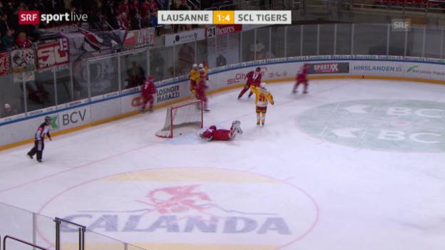 Video «Langnau übertölpelt Lausanne mit 4 schnellen Toren» abspielen