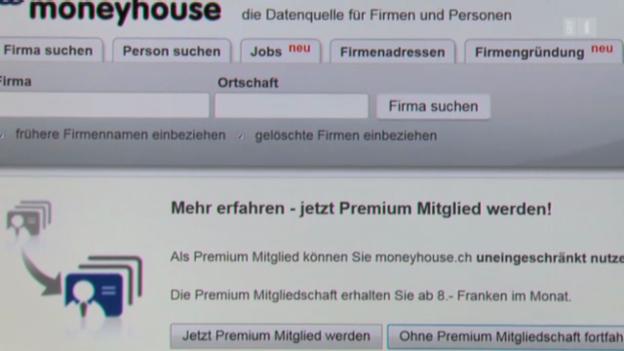 Video «09.04.13: Private Daten offen im Internet: Moneyhouse verrät alles» abspielen