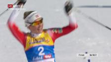 Link öffnet eine Lightbox. Video Der Zieleinlauf im Skiathlon der Frauen abspielen