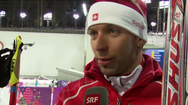 Video «Sotschi: Biathlon, Männer-Staffel, Interview mit Serafin Wiestner» abspielen