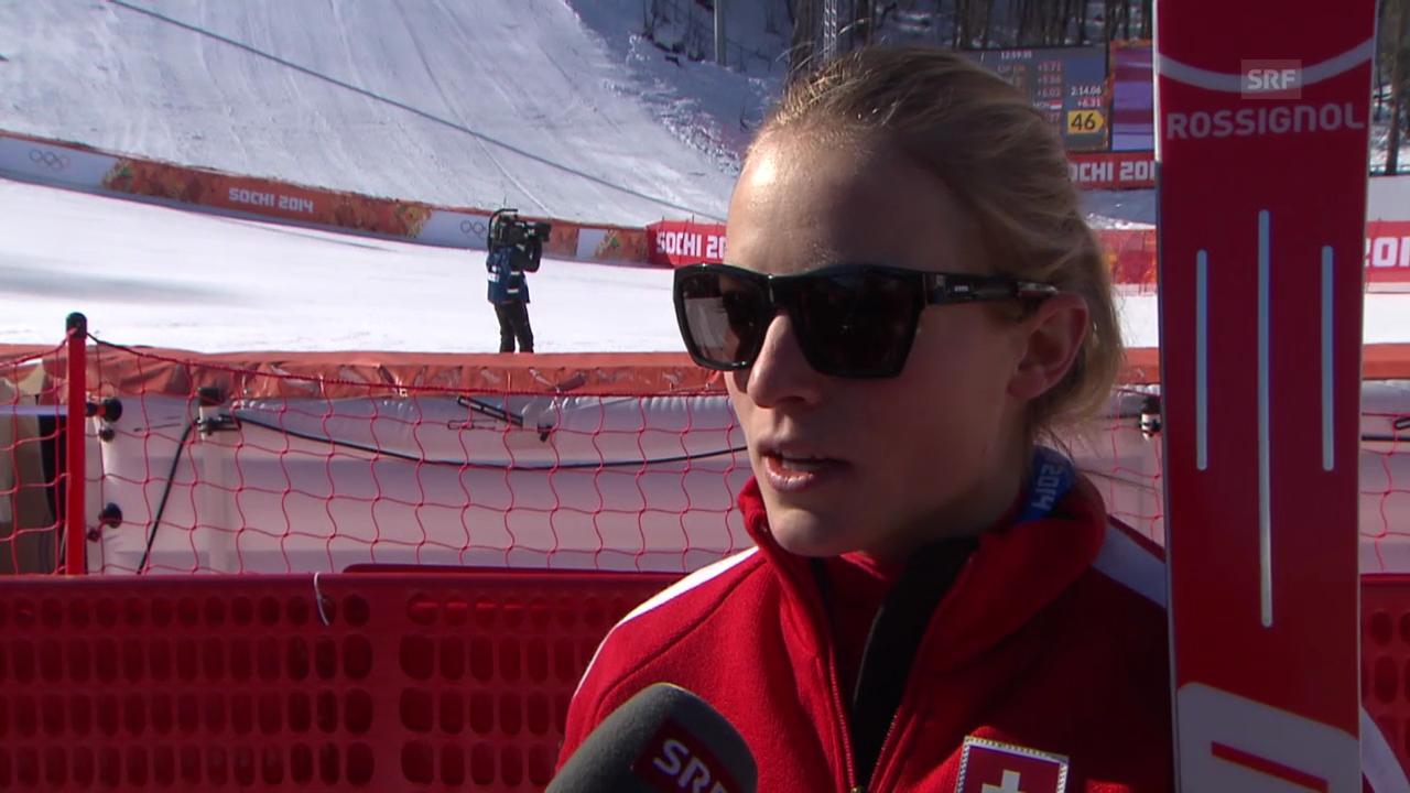 Sotschi, Ski Alpin: 1. Training der Frauen, Interview mit Lara Gut