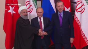 Video «Putin empfängt Rohani und Erdogan in Sotschi» abspielen