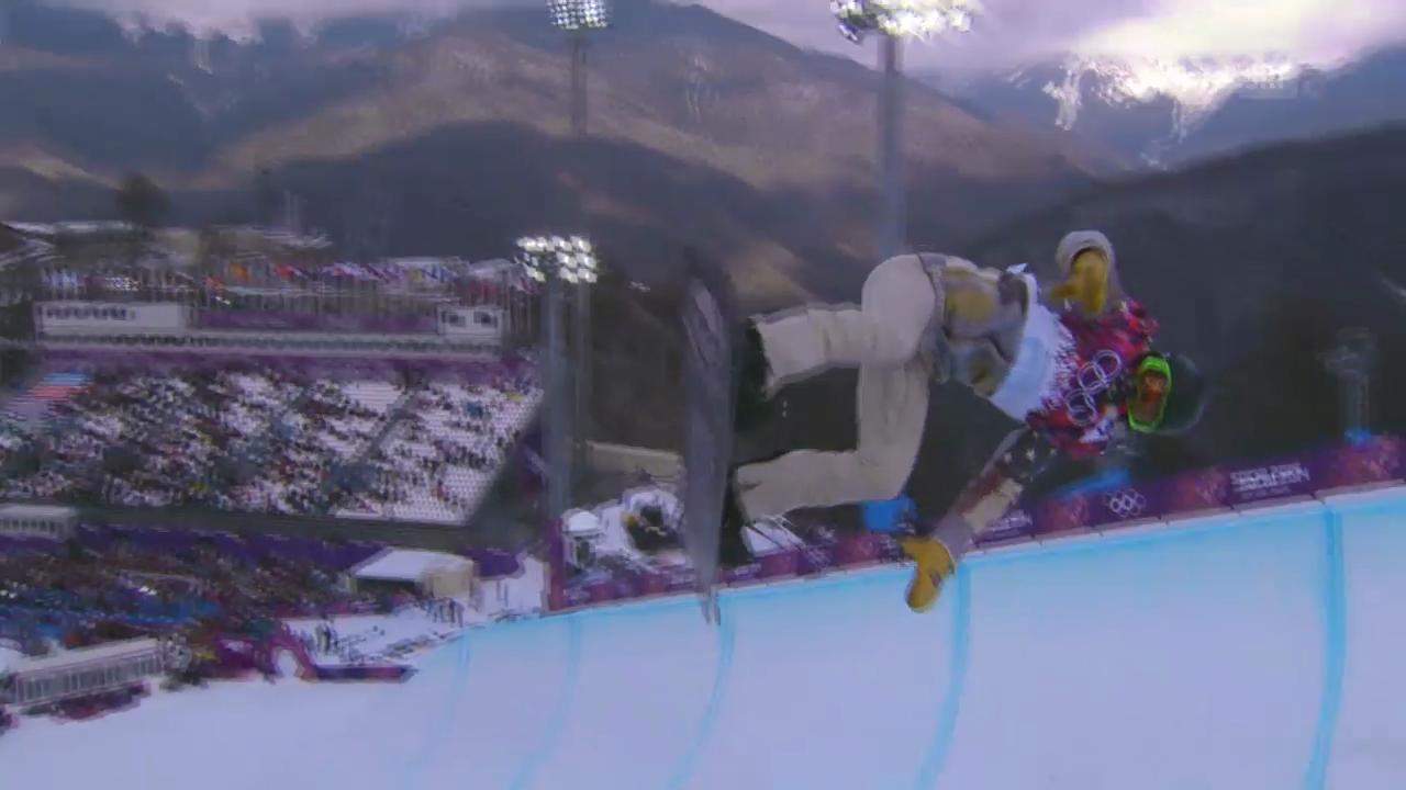 Snowboard: Halfpipe Männer, Quali, 1. Run Shaun White (sotschi direkt, 11.2.2014)