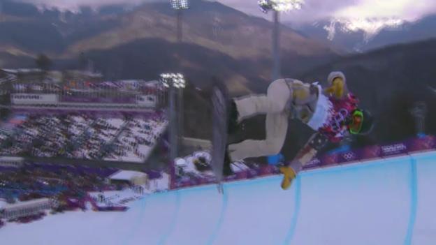 Video «Snowboard: Halfpipe Männer, Quali, 1. Run Shaun White (sotschi direkt, 11.2.2014)» abspielen