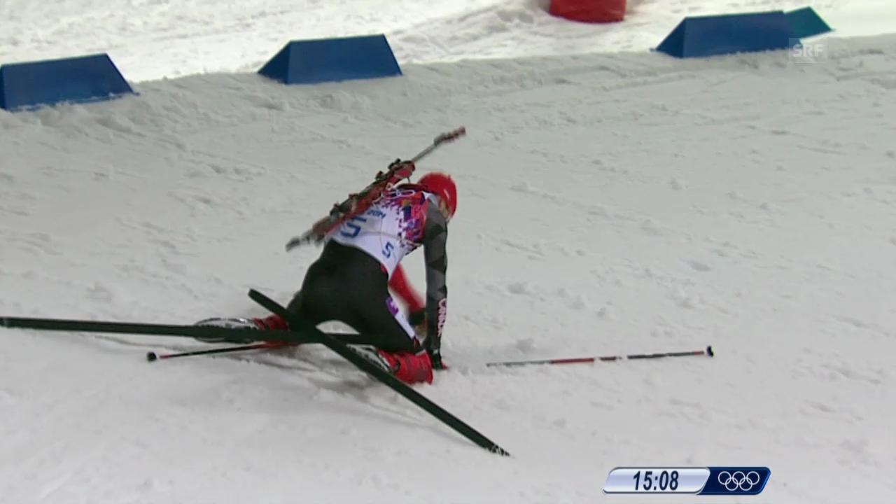 Biathlon: Verfolgung Männer, Stürze von Deryzemla und Le Guellec (sotschi direkt, 10.02.2014)