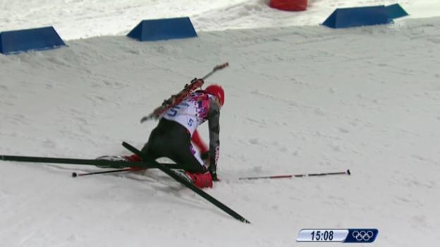 Video «Biathlon: Verfolgung Männer, Stürze von Deryzemla und Le Guellec (sotschi direkt, 10.02.2014)» abspielen
