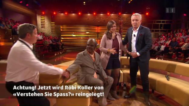 Video «Röbi Koller wird von «Verstehen Sie Spass?» reingelegt» abspielen