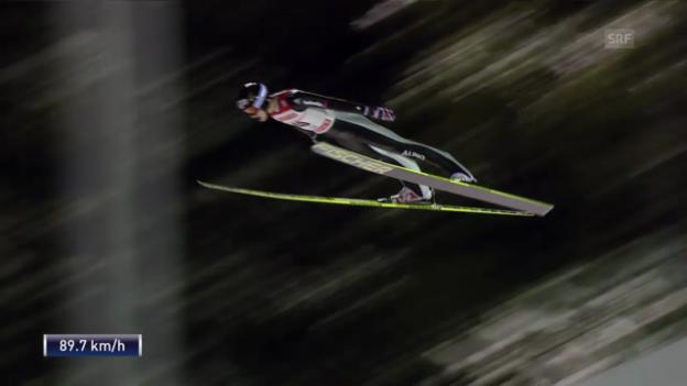 Video «Skispringen: Weltcup in Kuopio, 2. Sprung von Gregor Deschwanden» abspielen